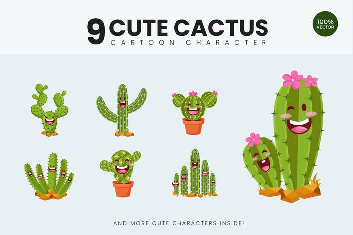 Thumbnail for 9 Cute Cactus Vector Illustration Vol.1