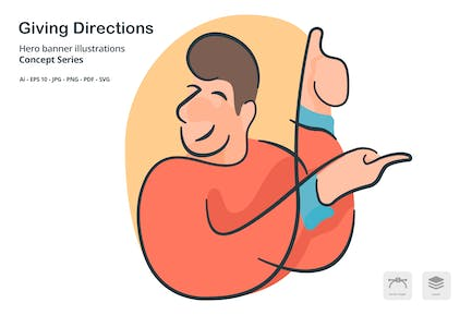 Giving Directions Vector Illustration