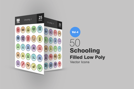 50 Schooling-Gefüllte Low-Poly-Icons