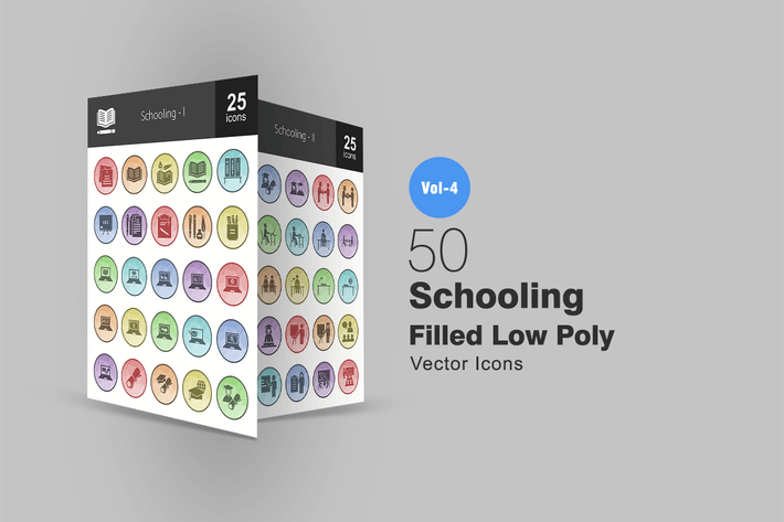 Thumbnail for 50 Schooling Filled Low Poly Icons