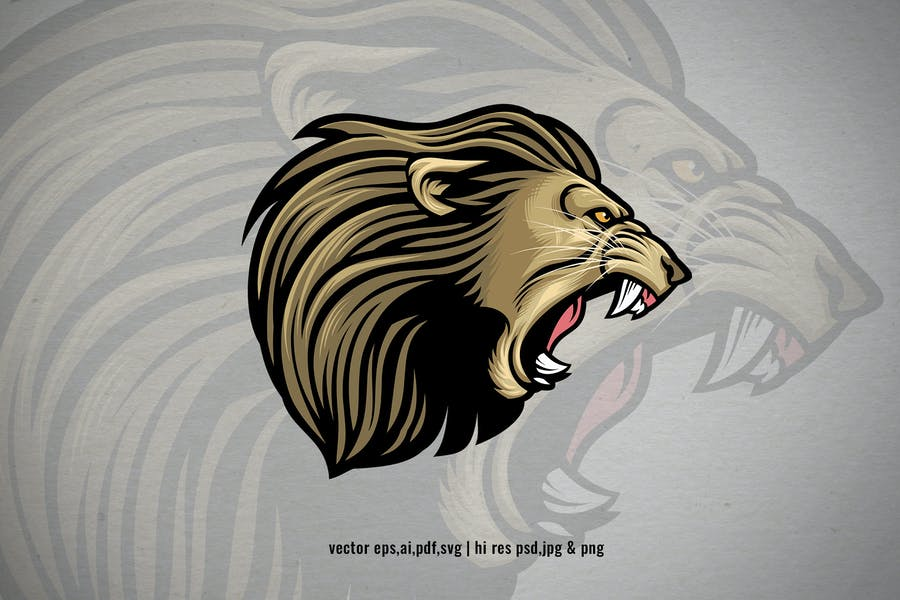 lion head angry roaring