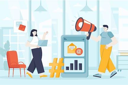 Social Media Marketing Flat Web Banner Template