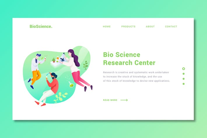 Thumbnail for Bio Science - Landing Page Template