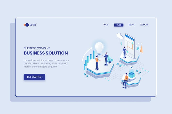 Thumbnail for Business Solution Isometric Vector Concept