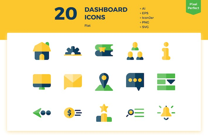 Thumbnail for 20 Dashboard Icons (Flat)