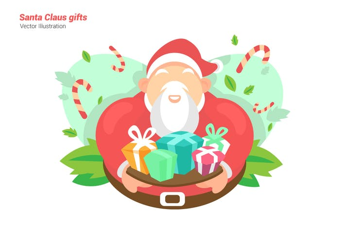 Santa Claus with Gifts - Vector Illustration