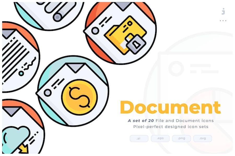 Kit de iconos circulares de línea de colores de 20 documentos