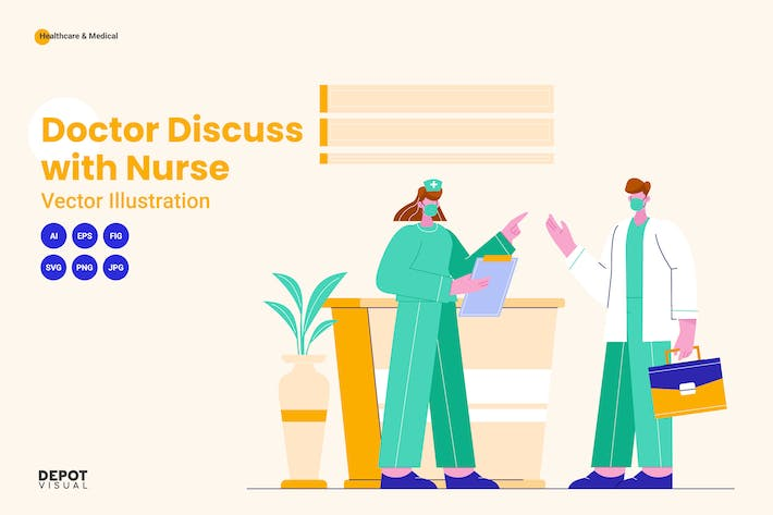 Doctor Discuss with Nurse Vector Illustration