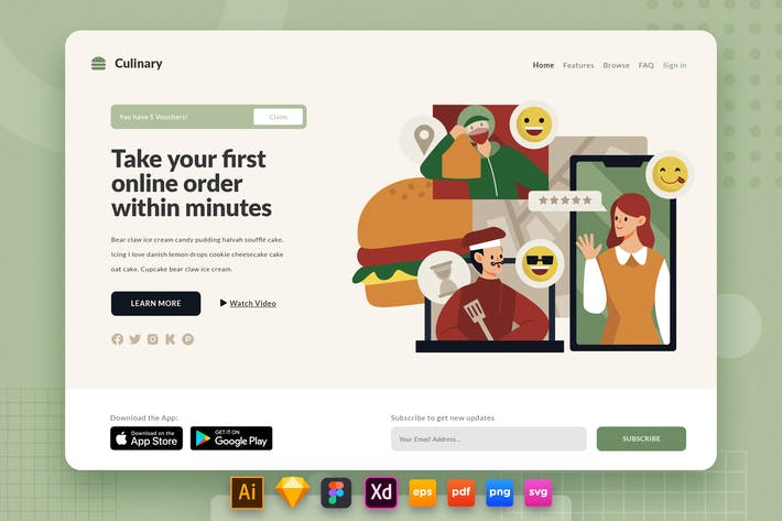 Thumbnail for Landing Page V.28 Culinary - Food Delivery Service