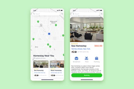 Find Homestay mobile UI Concept
