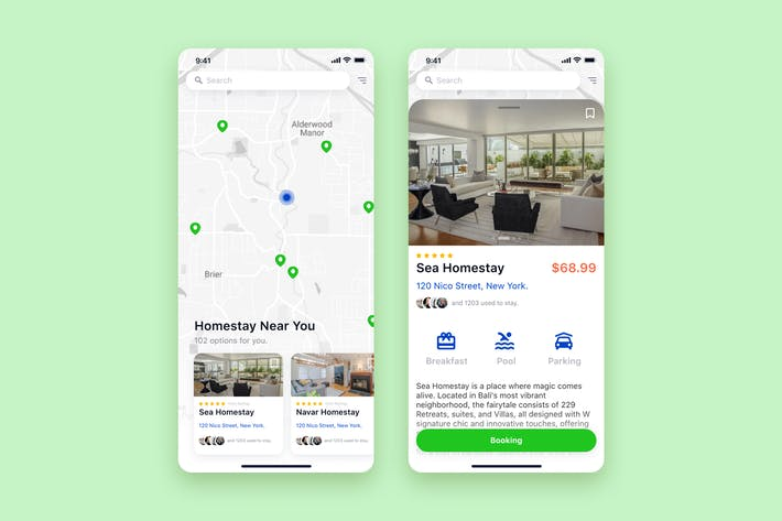 Thumbnail for Find Homestay mobile UI Concept
