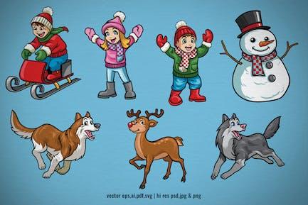 conjunto personaje de dibujos animados de vacaciones de Navidad