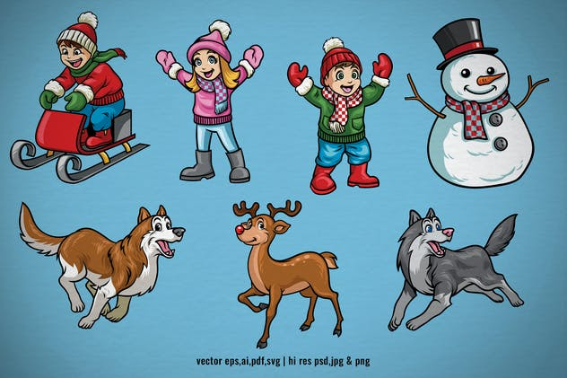 set cartoon character of christmas holiday