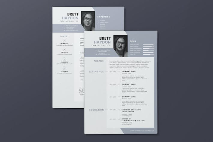 Thumbnail for Clean Minimalist CV Resume AI and PSD Flyer Vol.16