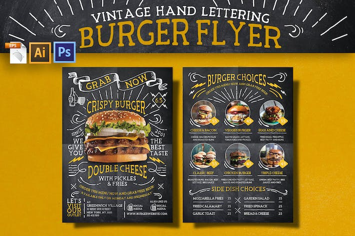 Thumbnail for Vintage Lettering Burger Flyer