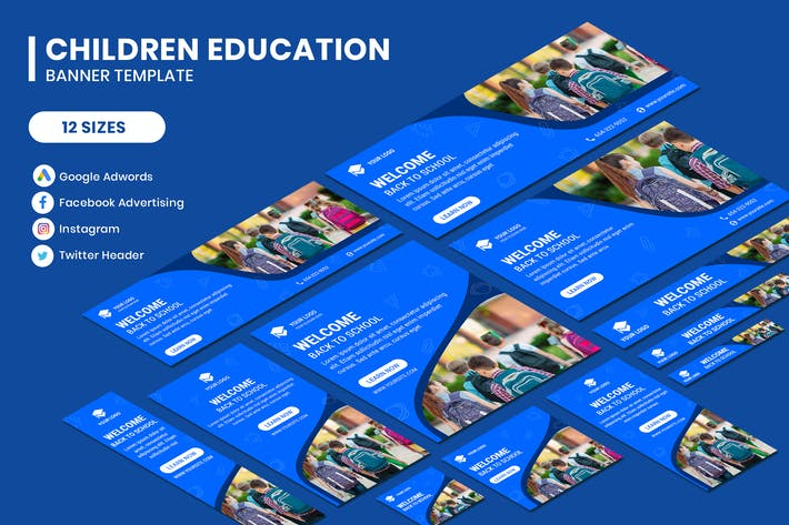 Thumbnail for Children Education Google Adwords Banner Template