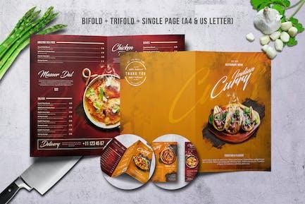 Curry Indian Menu Bundle A4 & US Letter