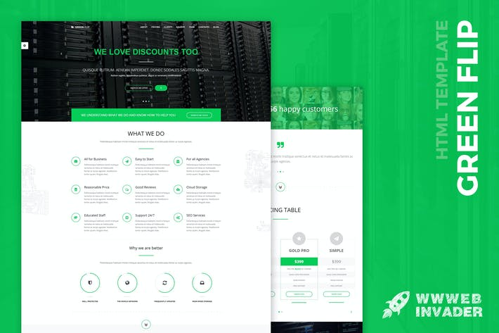 Thumbnail for Green Flip - One Page Theme Bootstrap 3