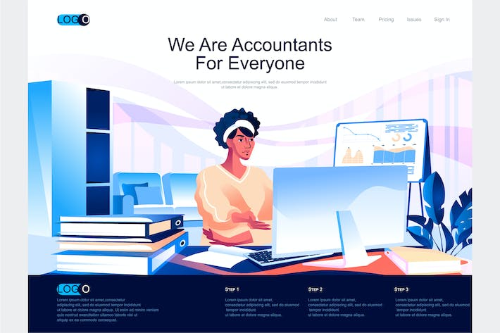 Thumbnail for Accountants Isometric Landing Page Template