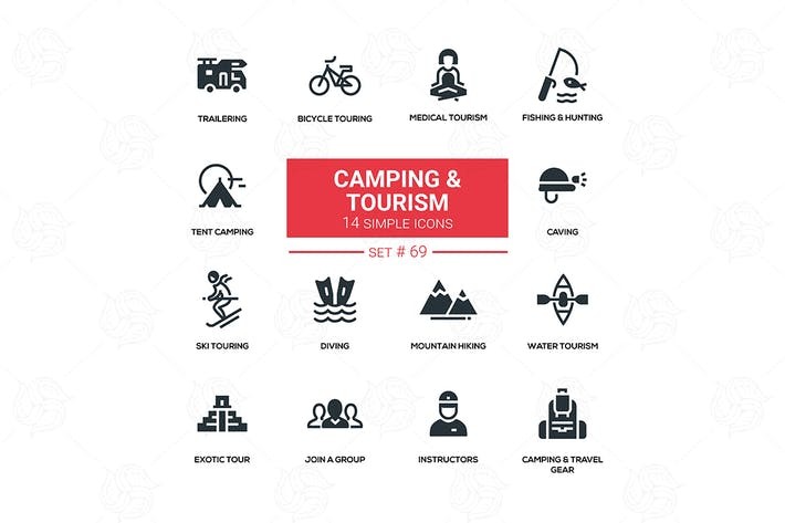 Thumbnail for Camping and tourism - line design silhouette icons