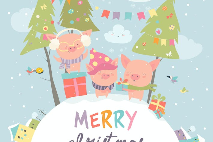 Thumbnail for Cartoon funny pigs with gifts. Christmas card.