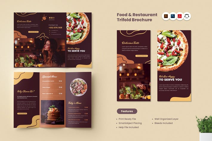Food & Restaurant Trifold Brochure