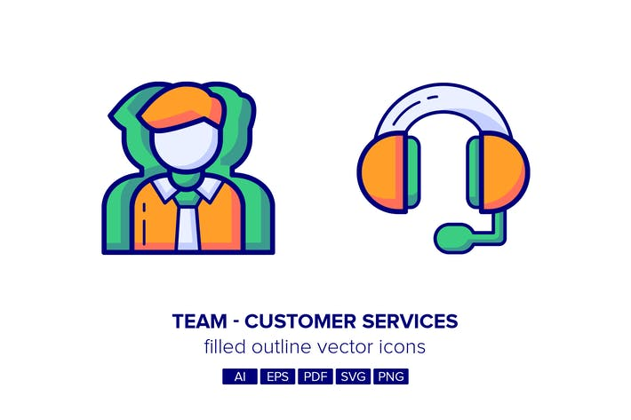 Thumbnail for Team & Customer Services Filled Outline Icons