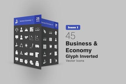 45 Business & Economy Glyphe invertierte Icons