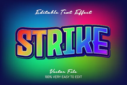 Gradient strike text style effect