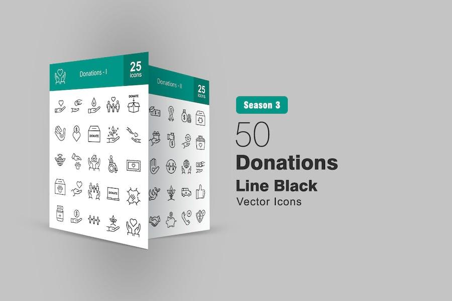 50 Spenden-Linien-Icons