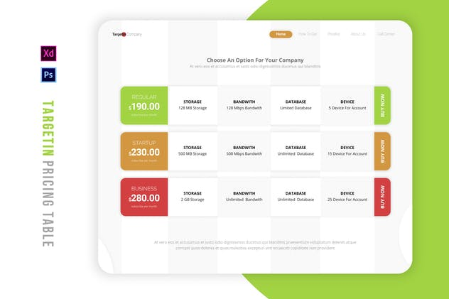 Targetin Company | Pricing Table