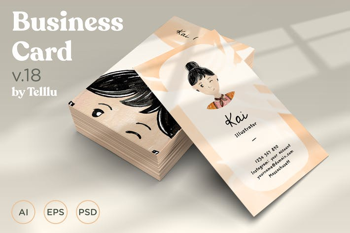 Thumbnail for Business Card v.18 Watercolor with Avatar