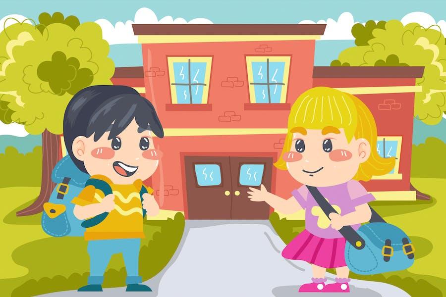 Back to School Kids Illustration