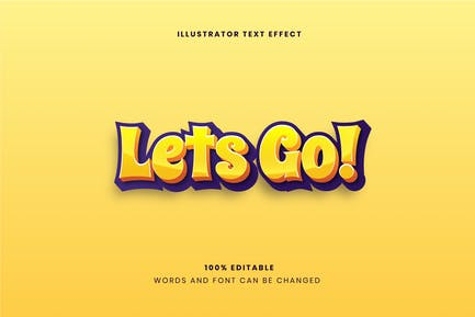 Bold Let's Go! Text Effect
