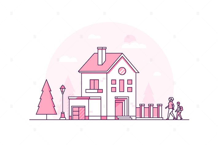 Thumbnail for Cottage house - line design style illustration