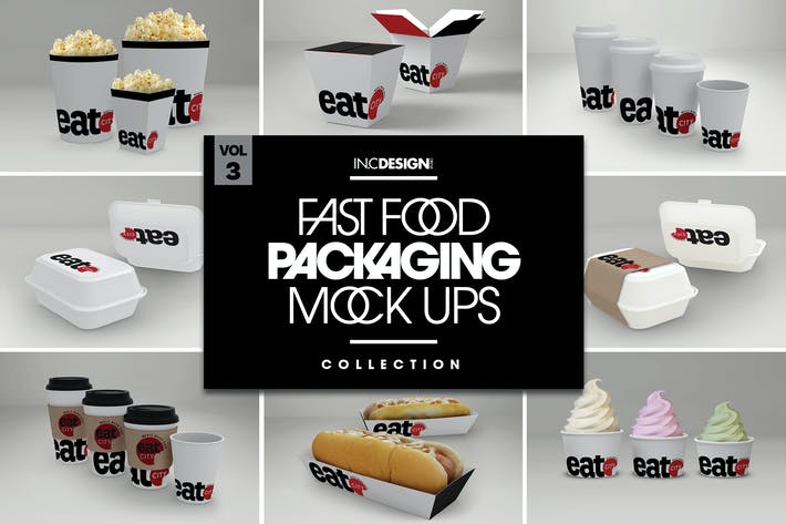 Thumbnail for Fast Food Boxes Vol.3: Take Out Packaging Mock Ups