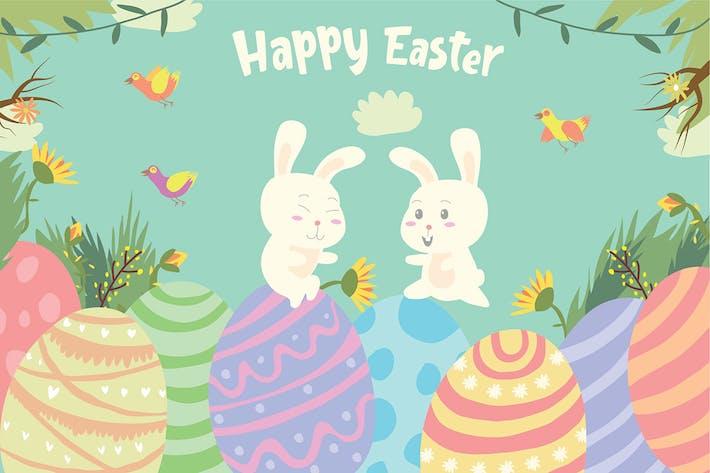 Easter Egg Bunnies - Vector Illustration