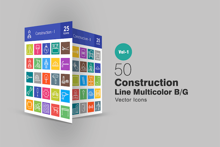 Thumbnail for 50 Construction Line Multicolor Icons