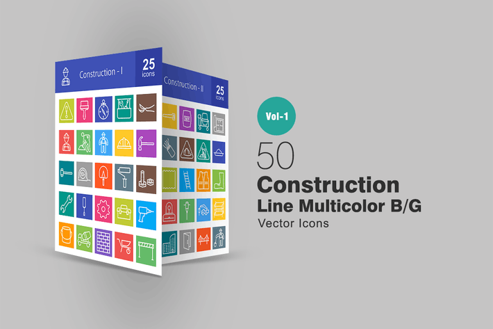 50 Construction Line Multicolor Icons