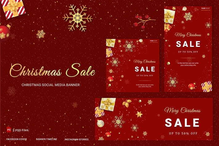 Thumbnail for Christmas Sale Social Media Banner