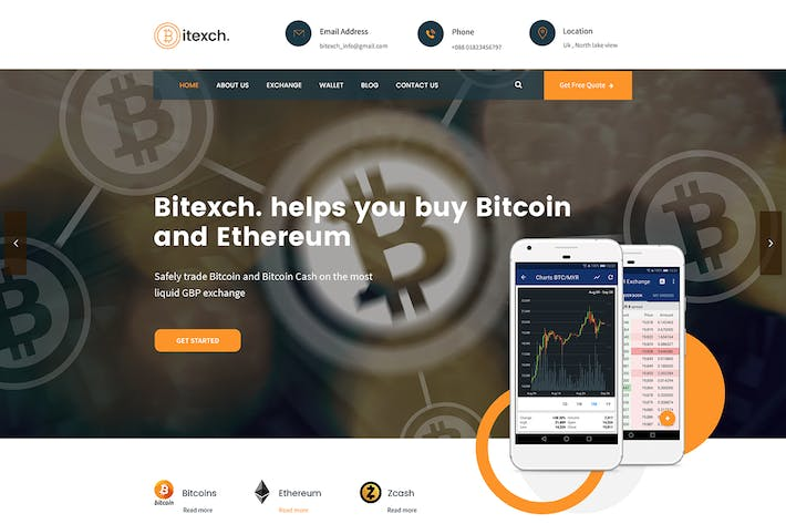 Cover Image For Bitexch Digital Currency and Bitcoins HTML Templat