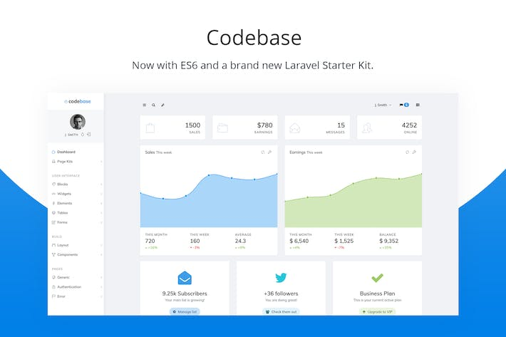 Thumbnail for Codebase - Modèle d'administration Bootstrap et Kit Laravel