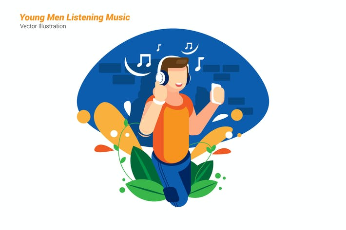 Thumbnail for Young Listening Music - Vector Illustration