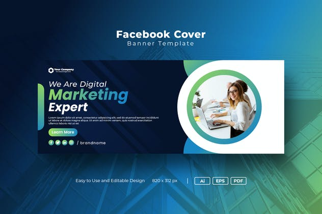 Digital marketing Facebook Cover banner template