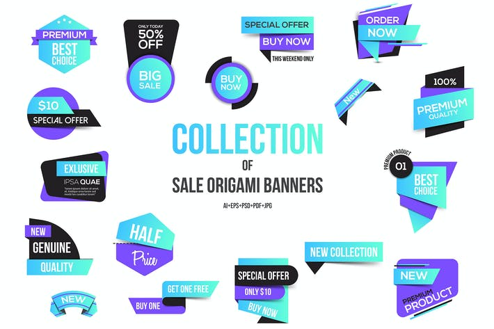 Thumbnail for Vivid Colors Origami banners design
