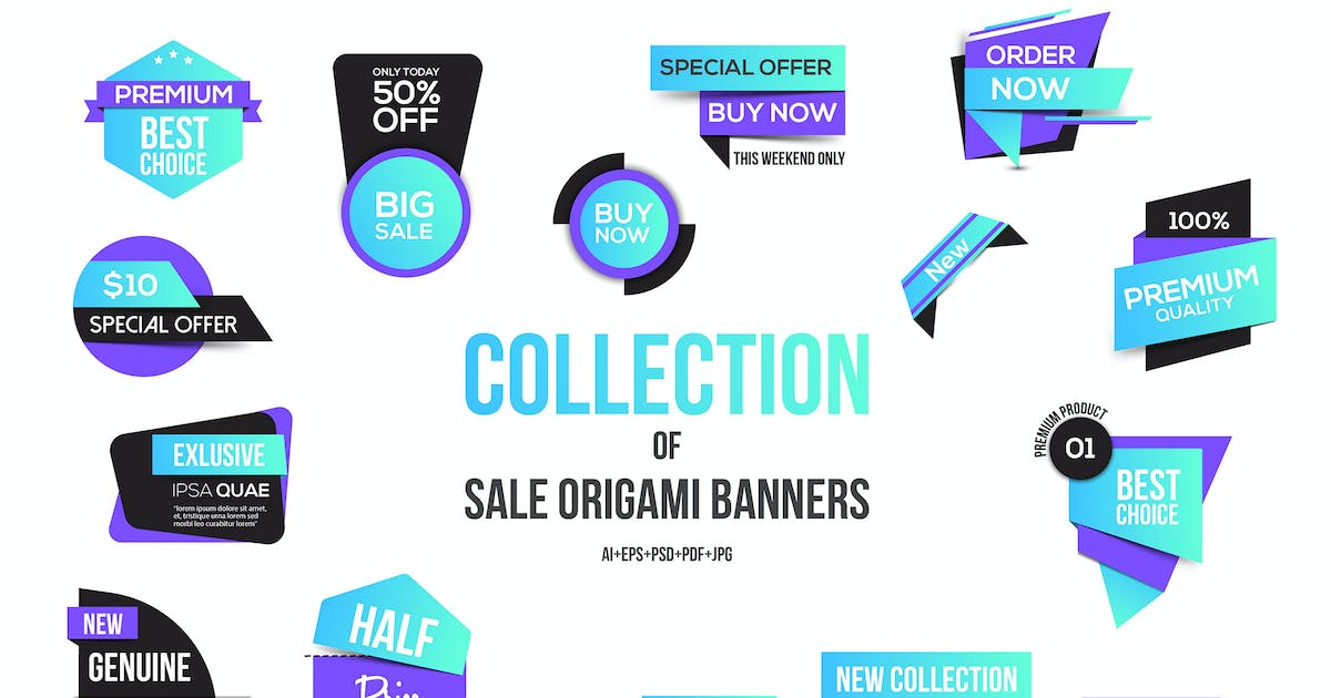 Download Vivid Colors Origami banners design by graphics4u