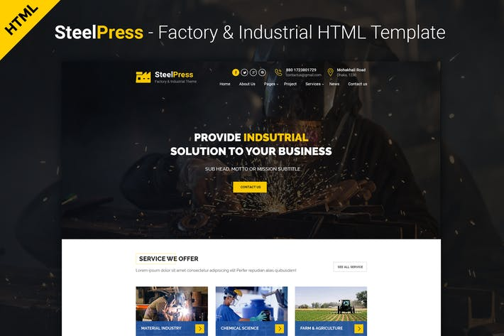 Thumbnail for SteelPress - Industrial & Factory HTML Template