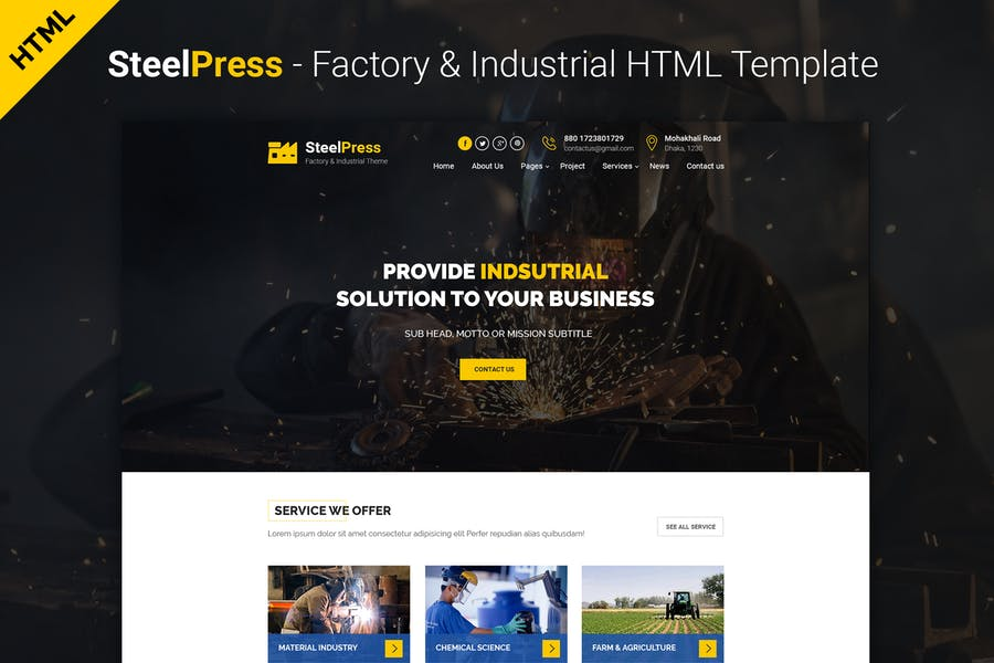 SteelPress - Industrial & Factory HTML Template