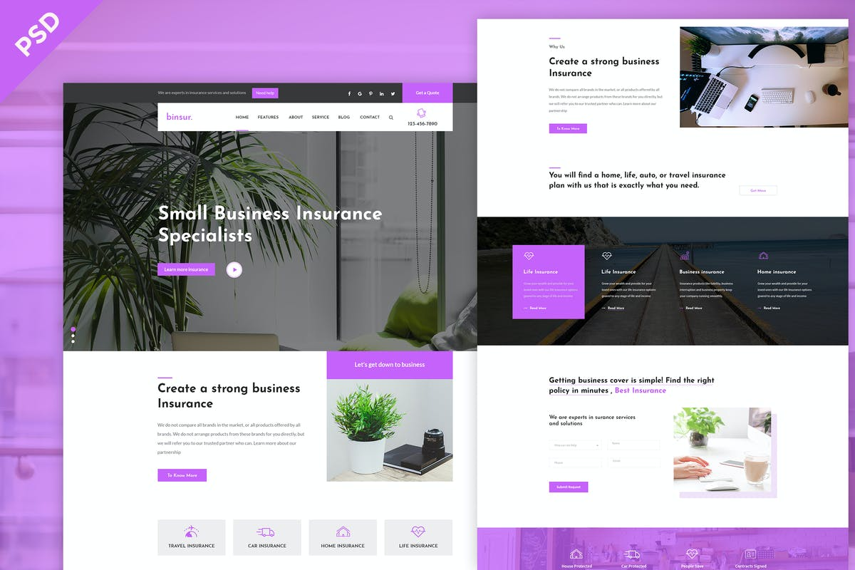 Download Binsure Insurance/Agency PSD Template by CreativeGigs by Unknow