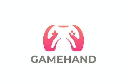 Spiel Joystick und Hände Negative Space Logo